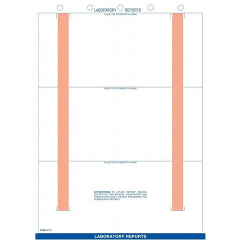 """8-1/2"""" x 11"""" White Lab Report Sheets, 5 Hole Punch, Vertical Adhesive Strips Left & Right, Fits 3 Reports (500 per Box)"""