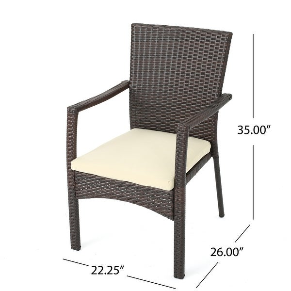 Cordella Outdoor 7-pc. Cushioned Wood Dining Set by Christopher Knight Home