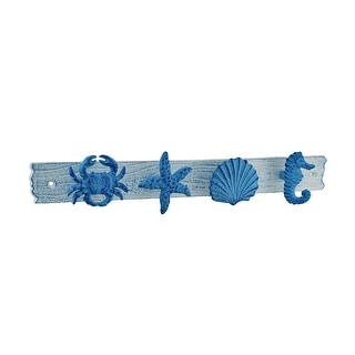 Blue and White Sea Life Decorative Wall Hook - 2.5 X 15.75 X 1.5 inches