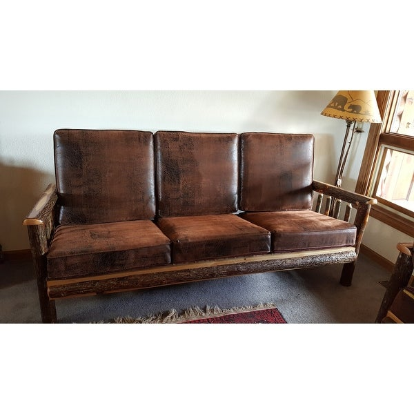 Shop Rustic Hickory Sofa Bear Mt. Fabric Amish Made USA   Free Shipping  Today   Overstock.com   10618342