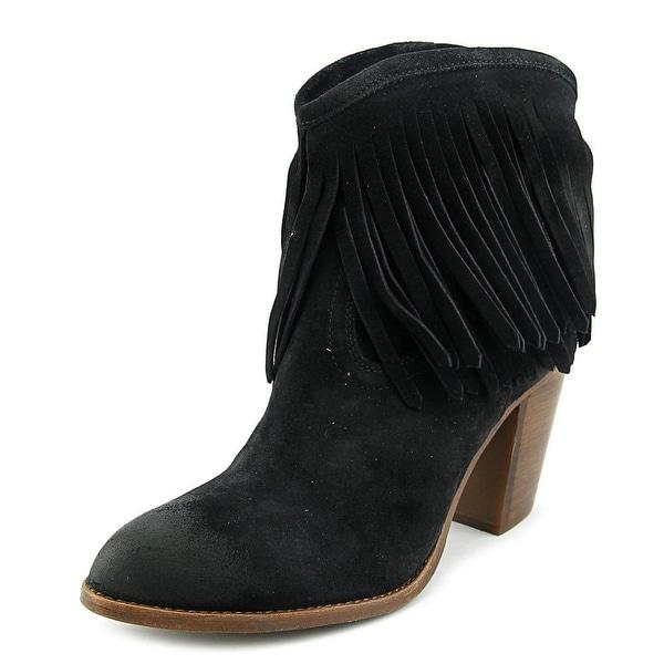 Frye Ilana Fringe Short Women Round Toe Leather Black Ankle Boot