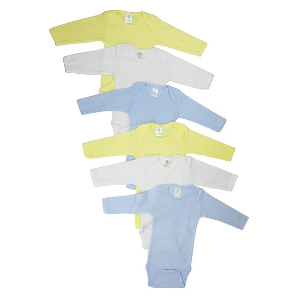 Bambini Boy's Yellow, White, Blue Rib Knit Pastel Long Sleeve Bodysuit 6-Pack