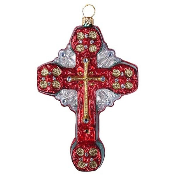 Religious Baptist Cross Polonaise Christmas Ornament Red & Green #AP1775R