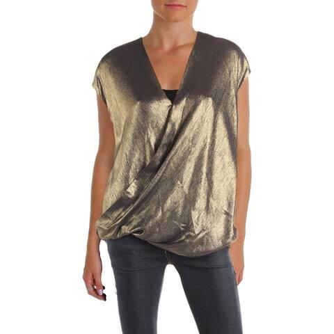 Lauren Ralph Lauren Womens Halpersia Blouse Metallic Sleeveless