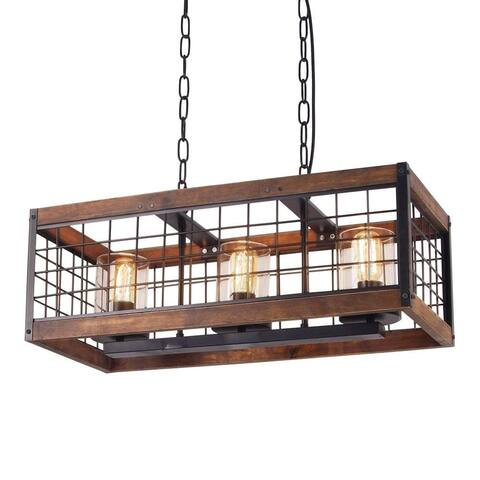 3 light vintage industrial rustic wood chandelier, circular wire cage glass chandelier