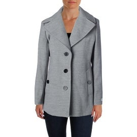 Calvin Klein Womens Heathered Long Sleeves Coat - 6