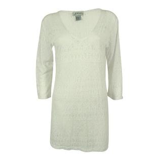 J Valdi Women's 3/4 Sleeve V-Neck Swim Cover-Up Dress - S