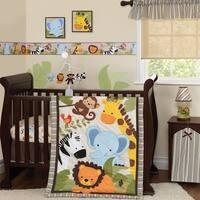 Bedtime Originals Jungle Buddies Beige/Brown/Green Safari Jungle Animals 3-Piece Baby Nursery Crib Bedding Set