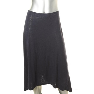 Eileen Fisher Womens Slub Knee-Length Asymmetrical Skirt - M
