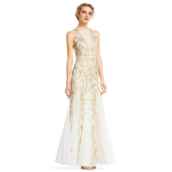 Shop Adrianna Papell Floral Beaded Halter Dress with Chiffon Godet ...