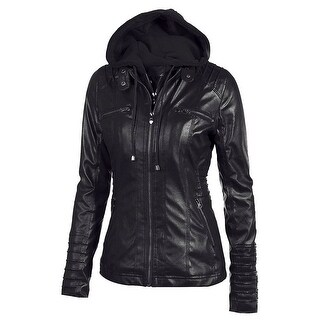 QZUnique Women's Faux Leather Zipper Motorcycle Bomber Biker Jacket with Hoodie