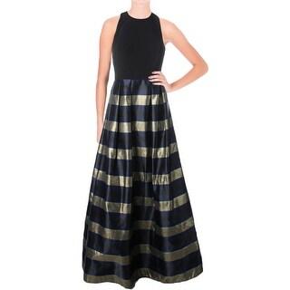 Aqua Womens Formal Dress Metallic Striped