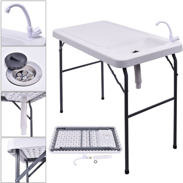 Costway Folding Portable Fish Table Hunting Cleaning Cutting Camping Sink Faucet - White