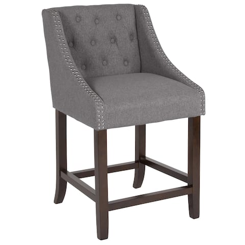 """24"""" High Walnut Counter Height Stool with Accent Nail Trim"""