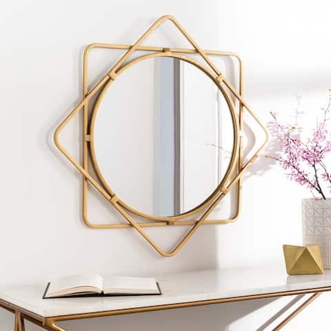 """Heddie Golden Geometric Sunburst 28-inch Mirror - 28""""H x 28""""W"""