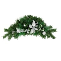 "30"" Silver Poinsettia and Pinecone Artificial Christmas Swag - Unlit - green"