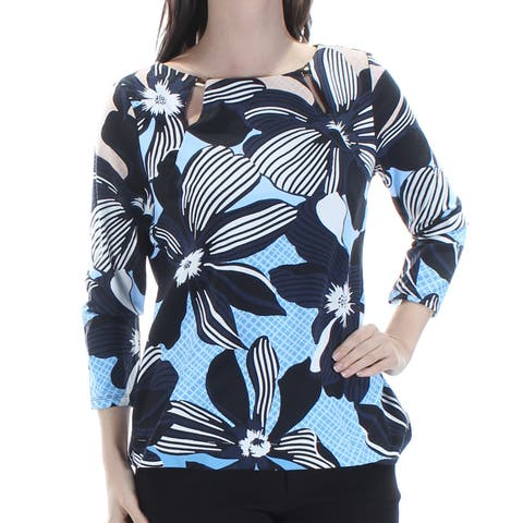 CHARTER CLUB Womens Blue Floral 3/4 Sleeve Jewel Neck Top Size: S