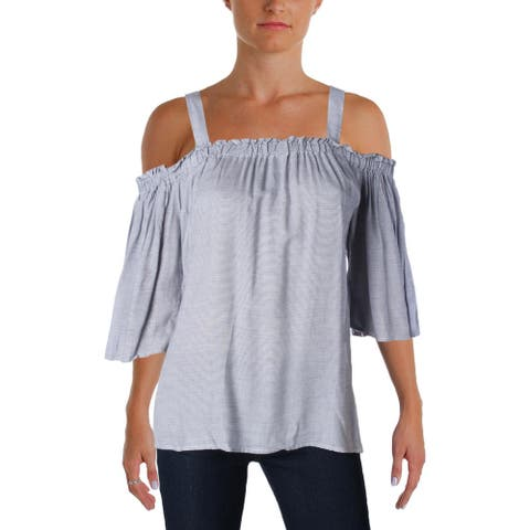 4Our Dreamers Womens Blouse Pinstriped Ruched