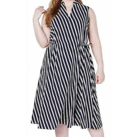 Anne Klein Womens A-Line Dress Blue Size 2X Plus Striped Tie-Waist
