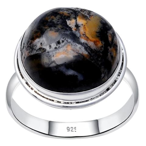 Jasper Sterling Silver Round Wedding Ring by Orchid Jewelry