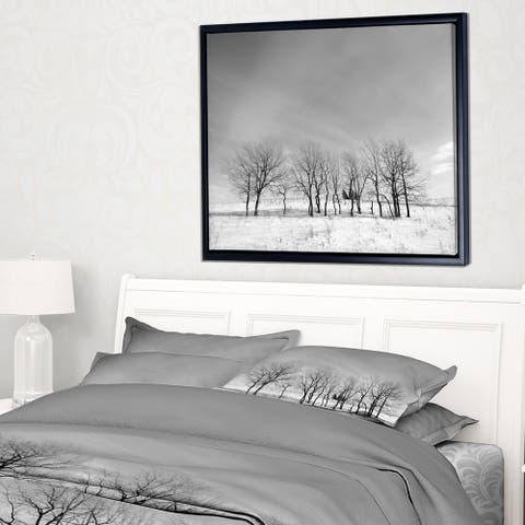 Designart 'Black and White Trees in Winter' Landscape Framed Canvas Art Print