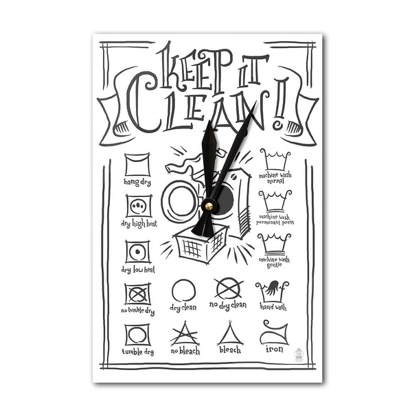 Laundry Symbols (White) - LP Artwork (Acrylic Wall Clock) - acrylic wall clock
