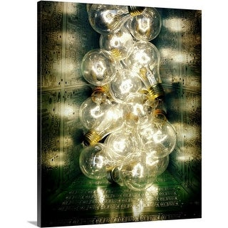 Premium Thick-Wrap Canvas entitled Light bulbs on Motherboard