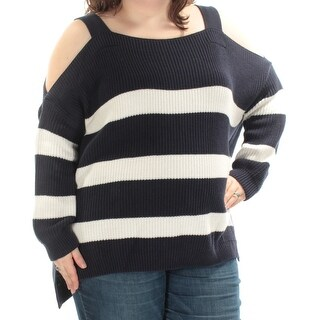 STYLE & COMPANY $34 Womens New 1685 Navy Striped Cold Shoulder Sweater XXL B+B
