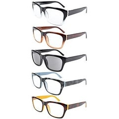 Eyekepper 5-pack Spring Hinges Large Square Frame Reading Glasses Include Sun Readers +0.5