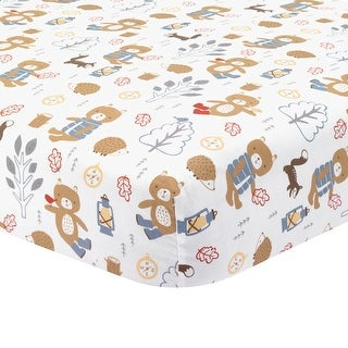 Lambs & Ivy Little Campers Fitted Crib Sheet - Blue, Gray, White, Animals, Woodland, Outdoors, Bear, Boy
