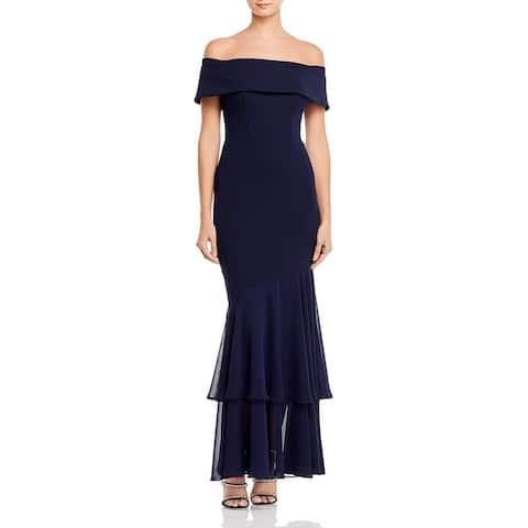 Aqua Womens Formal Dress Layered Mermaid - Navy