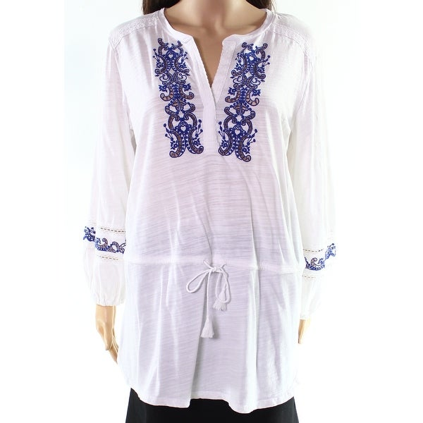 3b89ba8a Shop Lauren by Ralph Lauren Women's Embroidered V-Neck Top - On Sale - Free  Shipping On Orders Over $45 - Overstock - 27029603