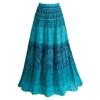 Women's Long Peasant Skirt - Tiered Broomstick Style in Caribbean Blues