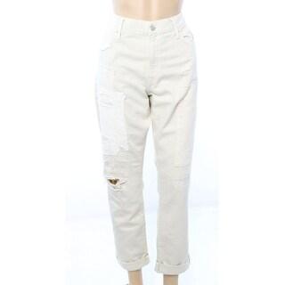 Polo Ralph Lauren NEW Cream Ivory Womens Size 29 Patch Boyfriend Jeans