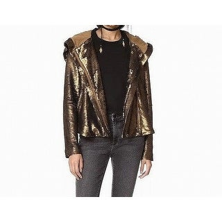Free People Gold Women's Size Small S Sequin Zip Hooded Jacket