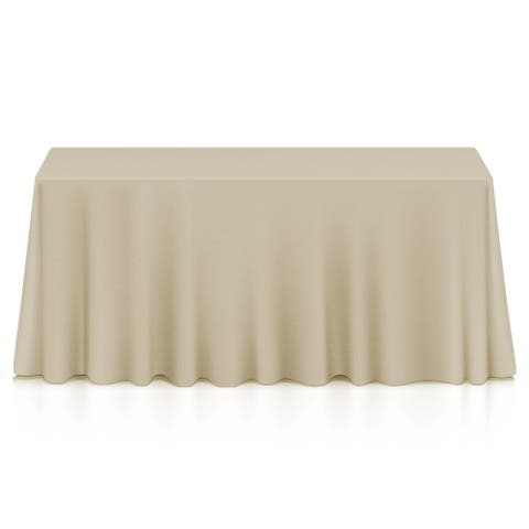 """5 Premium 90"""" x 132"""" Polyester Tablecloths for Weddings, Beige - 90 x 132 inches"""
