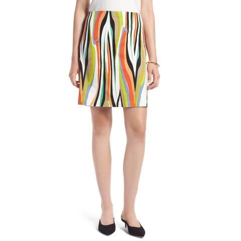 Halogen White Womens Petite Striped Straight Skirt