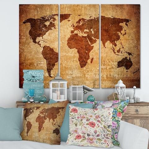 Designart 'Ancient Map of The World XI' Vintage Canvas Wall Art Print