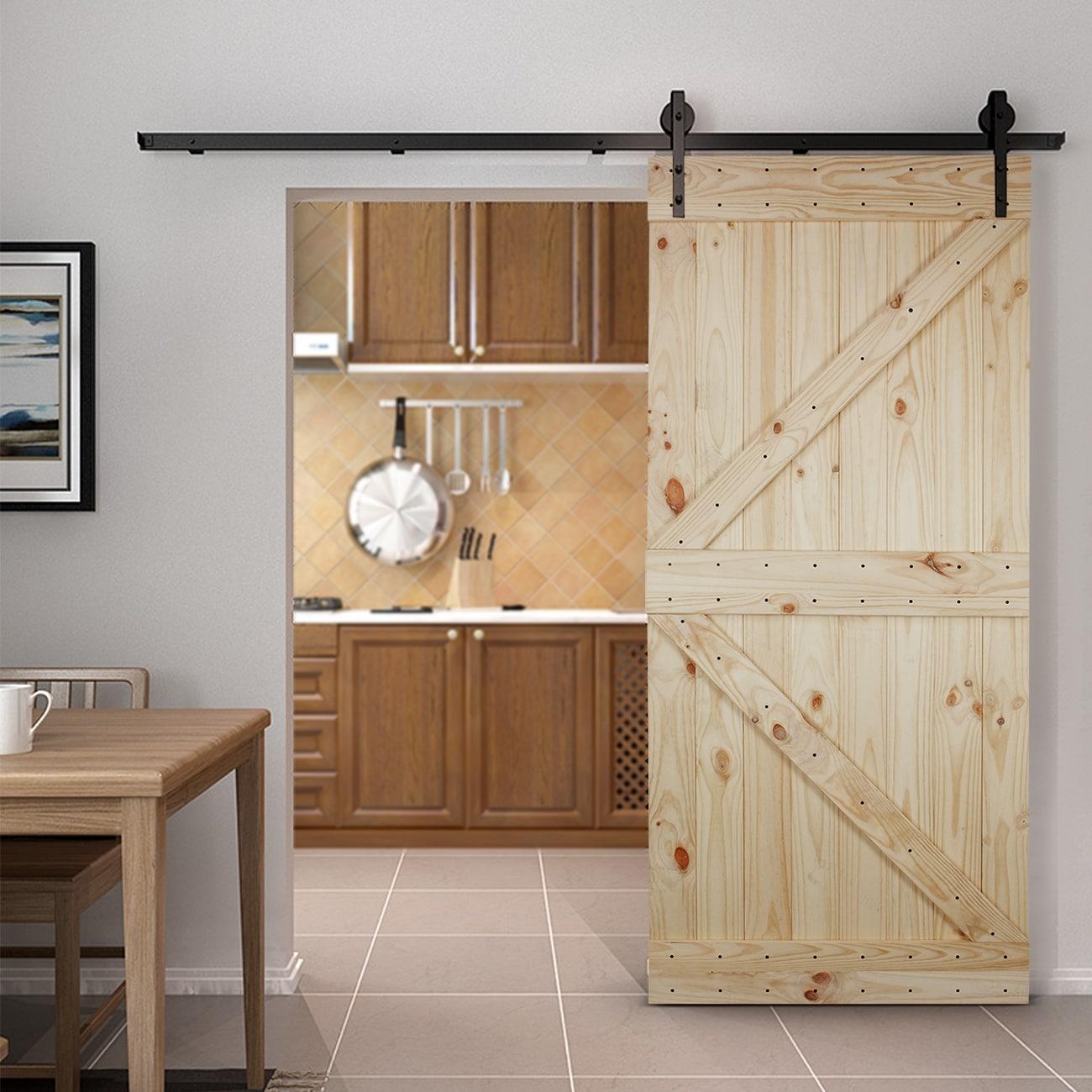Belleze 36 X 84 Inches Diy Sliding Barn Door Natural Wood Pine Unfinished Left Arrow