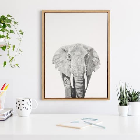Simon Te 'Elephant Portrait' Black and White Framed Canvas Wall Art