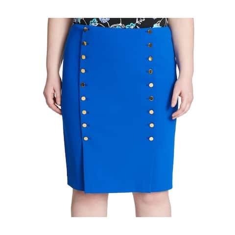 Calvin Klein Women's Skirt Blue Size 14P Petite Straight Pencil