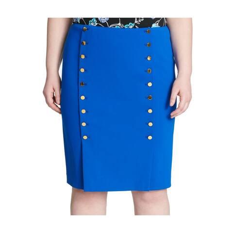 Calvin Klein Womens Skirt Blue Size 14P Petite Straight Pencil Button