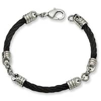 Chisel Black Plated Polished Stainless Steel Bracelet - 9 Inches