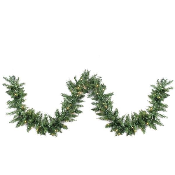 "50' x 12"" Pre-Lit Buffalo Fir Commercial Artficial Christmas Garland - Warm White LED Lights - green"