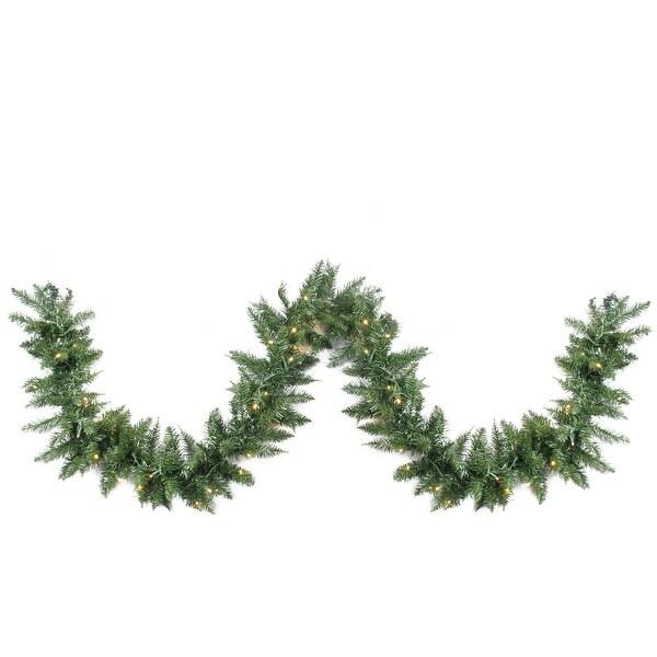 """9' x 12"""" Pre-Lit Buffalo Fir Artificial Christmas Garland - Warm White LED Lights - green"""