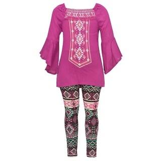 Little Girls Fuchsia Art Deco Print Flared Cuff Top 2 Pc Legging Outfit