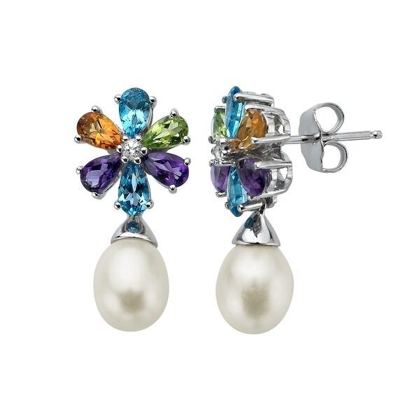 2 3/4 ct Multi-Stone & Freshwater Pearl Drop Earrings in Sterling Silver - Multi-Color