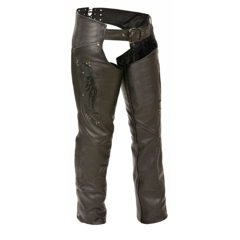 Womens Leather Chaps Wing Embroidery / Rivet Details
