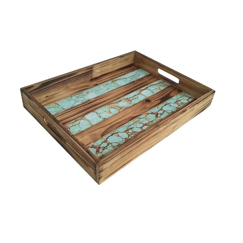 HiEnd Accents Wooden Tray with Turquoise Inlay