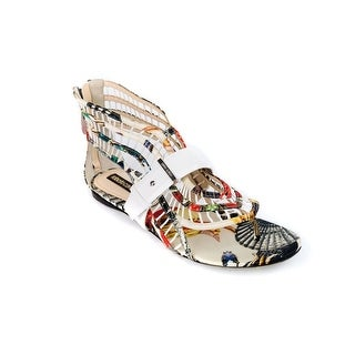 Roberto Cavalli Womens Abstract Print Sandal w/Zipper